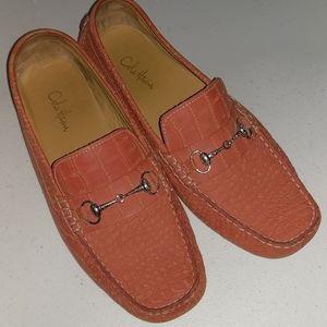 Cole Haan Orange Reptile Print Driving Shoes Sz 8